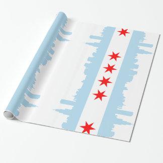 Papier Cadeau Horizon de drapeau de Chicago