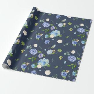 Papier Cadeau Hortensias bleus et pourpres d'aquarelle