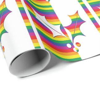 Papier Cadeau Houx de Noël de gay pride