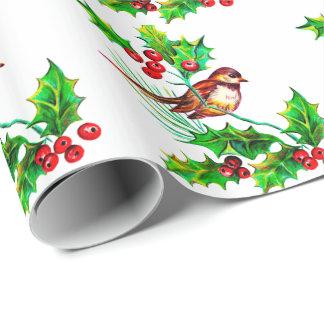 Papier Cadeau Houx de Noël et papier d'emballage de l'oiseau II
