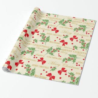 Papier Cadeau Houx et Noël d'arcs