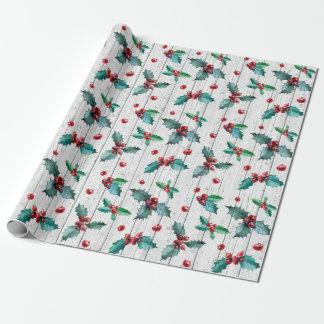 Papier Cadeau Houx rustique de Noël sur le motif en bois de