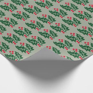 Papier Cadeau Houx vert et baies rouges