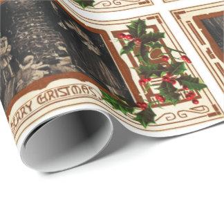 Papier Cadeau Houx vintage de famille de Noël victorien