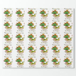 Papier Cadeau Il y ait les dragons petits