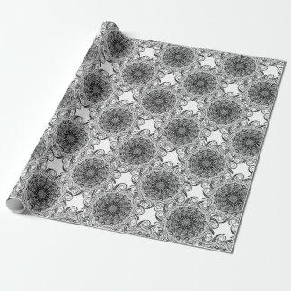 Papier Cadeau Illusion optique de griffonnage fleuri de zen