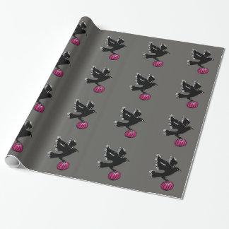 Papier Cadeau illustration de Halloween d'un corbeau et d'un
