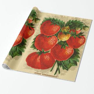 Papier Cadeau Illustration vintage de la fraise de Jessie