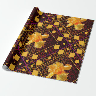 PAPIER CADEAU IRIS BARBU D'OR DE MOTIF DE DIAMANT D'ART DE BROWN