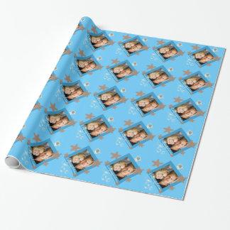 Papier Cadeau Ivoire de corail bleu de photo de plage d'étoiles