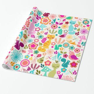 Papier Cadeau Jardin lunatique Kitty - papier d'emballage