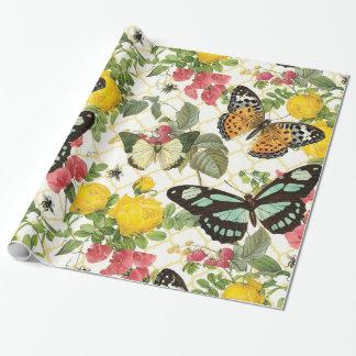 Papier Cadeau jardin vintage moderne de papillon
