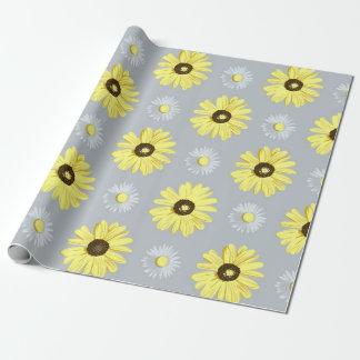 Papier Cadeau Jaune blanc de marguerites sur le papier gris