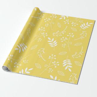 Papier Cadeau Jaune floral botanique de Sun de verdure de
