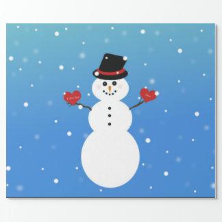 Papier Cadeau Je t'aime plus de bonhomme de neige