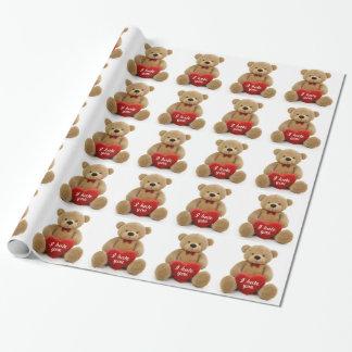 """Papier Cadeau """"Je vous déteste"""" ours de nounours mignon tenant"""