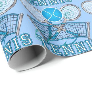 Papier Cadeau Jeu de balle de tennis bleu