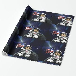 Papier Cadeau Jeune astronaute dans l'espace