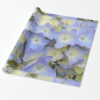 Papier Cadeau Jolies et colorées fleurs bleu-clair d'hortensia