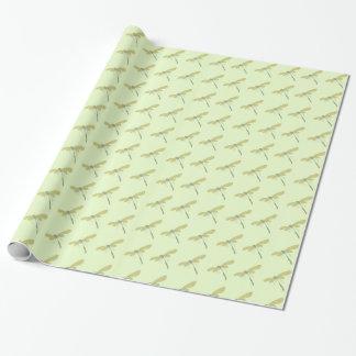 Papier Cadeau Jolies libellules sur la pistache pâle