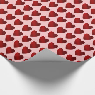 Papier Cadeau Jour de Valentines rose et rouge de coeurs