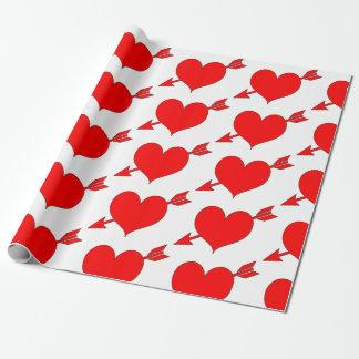 Papier Cadeau Jour de Valentines rouge Editable de coeur de
