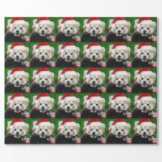 Papier Cadeau Joyeuses Fêtes de panda rouge Père Noël