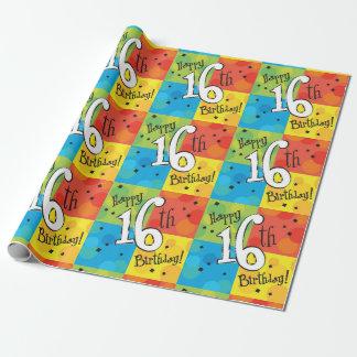 Papier Cadeau Joyeux 16ème anniversaire coloré