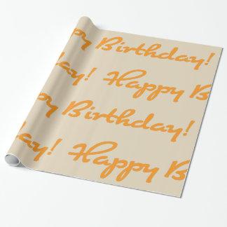Papier Cadeau Joyeux anniversaire ! Manuscrit décontracté orange