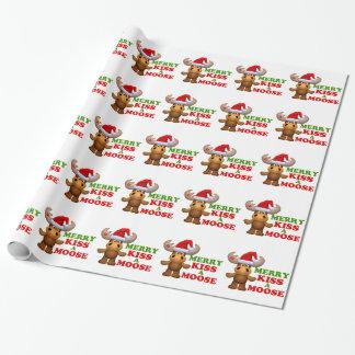 Papier Cadeau Joyeux baiser mignon Noël d'orignaux