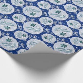 Papier Cadeau Joyeux et lumineux • Bleu • Flocons de neige •