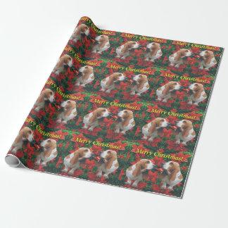 Papier Cadeau Joyeux Noël Basset Hound