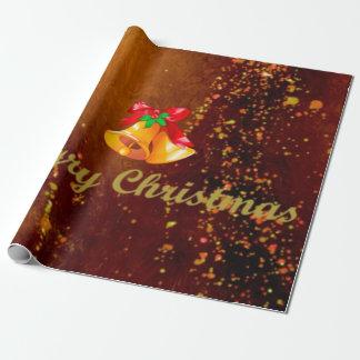 Papier Cadeau Joyeux Noël, cloches, brun d'or