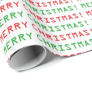 Papier Cadeau Joyeux Noël de police rouge et verte d'ordinateur
