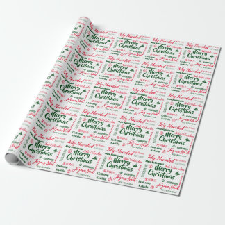Papier Cadeau Joyeux Noël en chaque papier d'emballage de langue