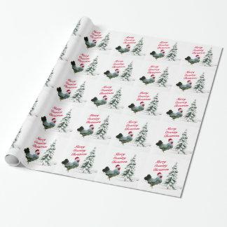 Papier Cadeau Joyeux poulet de Noël de pays avec le casquette de