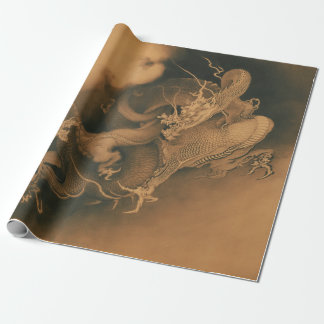 Papier Cadeau Kanō Hōgai deux dragons en nuages