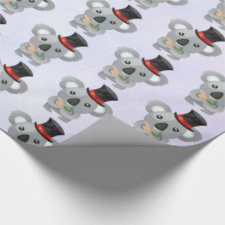 Papier Cadeau Koala mignon dans un casquette supérieur noir