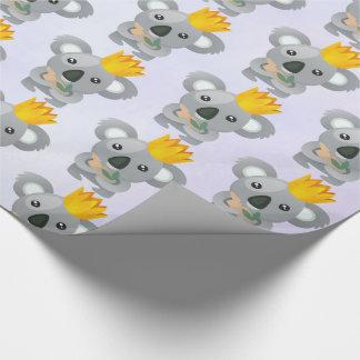 Papier Cadeau Koala mignon dans une couronne d'or