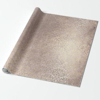 Papier Cadeau La damassé rougissent une poudre plus rusée d'or