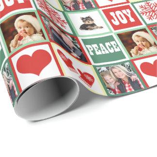 Papier Cadeau La joie de Noël ajoutent quatre photos de famille