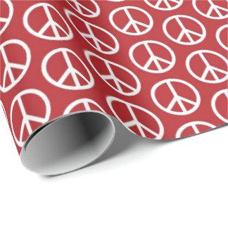 Papier Cadeau La paix se connecte le rouge de vacances