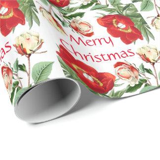 Papier Cadeau La pivoine rose fleurit le papier d'emballage de