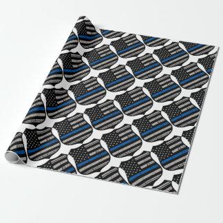 Papier Cadeau La police Badge Blue Line