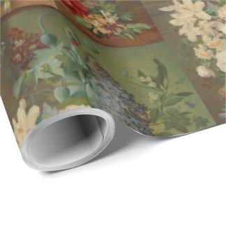 Papier Cadeau La vie toujours avec des fleurs dans un vase à