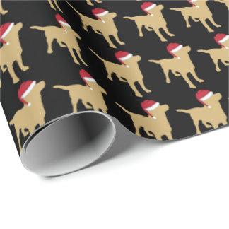 Papier Cadeau Labrador jaune dans Noël de casquette de Père Noël