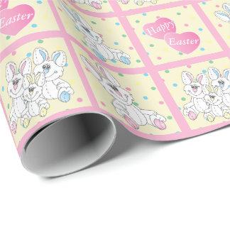 Papier Cadeau Lapins heureux de substance de Pâques
