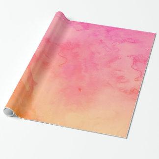 Papier Cadeau Lavage orange d'aquarelle de coucher du soleil de