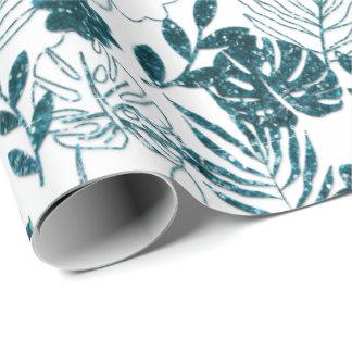 Papier Cadeau Le blanc botanique tropical turquoise de Monstera