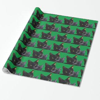 Papier Cadeau Le chat noir a couvert de tuiles le papier